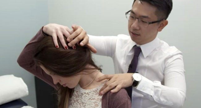 Physiotherapist Justin treating neck pain